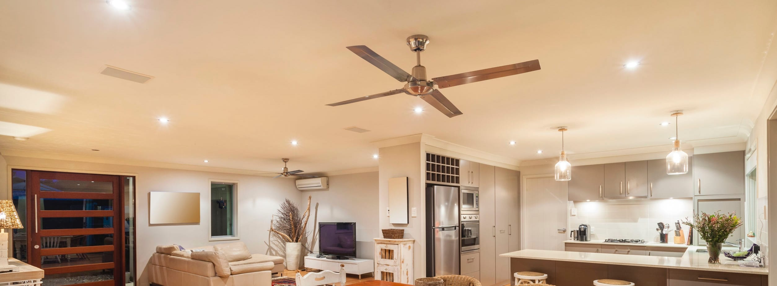Interior of home with ceiling fan